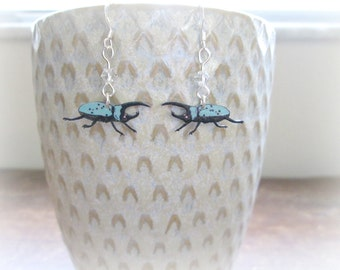 Rhinoceros Beetle Earrings - Hand Drawn Shrink Plastic and Sterling Silver