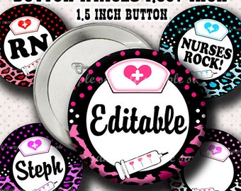 INSTANT DOWNLOAD Editable JPG Leopard Nurses Rock (799) Button Size Images 1.837 Inch (1.5 inch Button) Digital Collage Sheet Badges Buttons