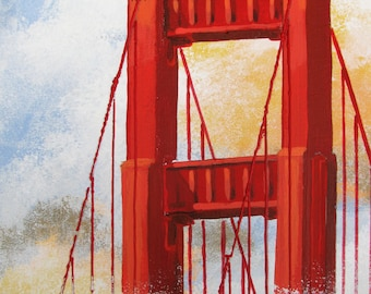 "Golden Gate Bridge in the fog, San Francisco, above, Original Painting, Red, Mixed media, 11""x14"",  Free Shippind in USA."