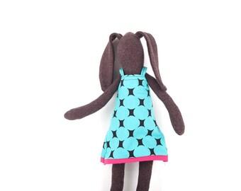 Stuffed animal , Easter rabbit , soft doll , Cuddling bunny , black doll , rabbit doll , plush doll , baby girl nursery , Plushie Softie