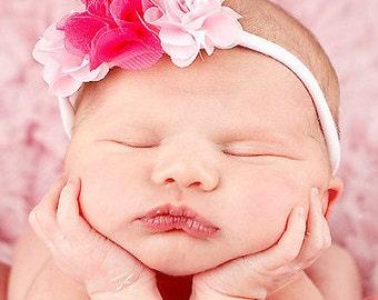 Baby headband, newborn headband, adult headband, child headband and photography prop The triple sprinkled- Pretty in PINK headband