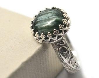 Seraphinite Ring, Engravable Jewelry, Natural Gemstone Ring, Renaissance Style Jewelry, Custom Engraving, Angel Wing Green Gemstone,