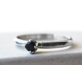 Black Spinel Engagement Ring, Custom Engraved Sterling Silver Band, Women's Minimalist Natural Stone Promise Jewelry