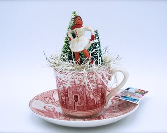 Tiny Vintage Christmas Scene-Little Barclay Lead Skater in a Pink Transferware Demitasse Cup-Jamestown Virginia