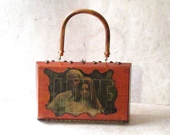 """Vintage 1970's 'LOVE' Wooden Box Purse 