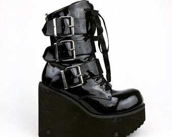 90's Buckle Shiny Faux Leather Mega Platform Wedge Vegan Cyber Goth Transmuter Buckle Boots // 7 - 7.5