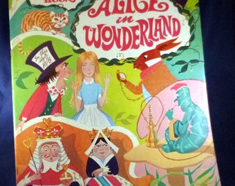 Vintage Alice in Wonderland Giant Coloring Book, 1970s (6 pages used)