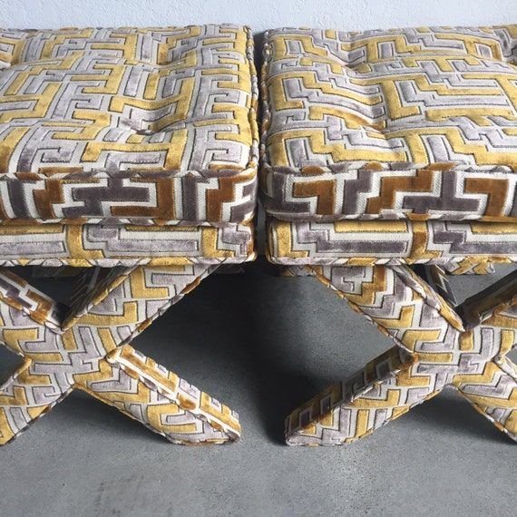Custom Upholstered X-Benches - W/Cushion top