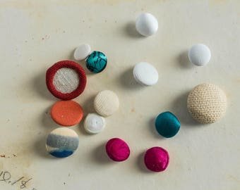 Vintage Lot of Fabric Covered Buttons Coat Dress Sweater Button Sewing Notion Replacement