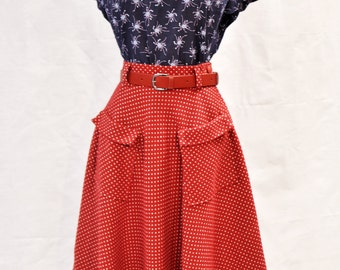 50s style red polka dot winter skirt with pockets, size US 4 / pin up skirt / vintage style skirt / hand made / swing skirt