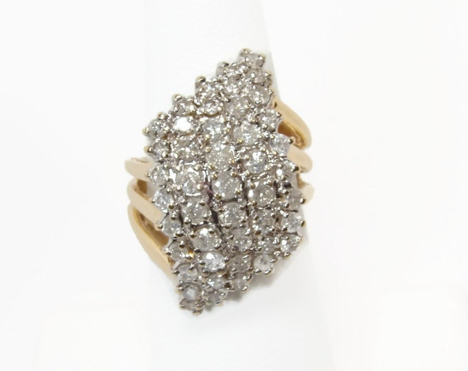 14K Gold 2 CT. Diamond Cluster Ring