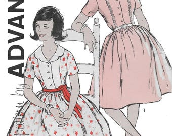Advance 9757 Misses 60s Full Front Button Dress Sewing Pattern Size 12 1/2 Bust 33