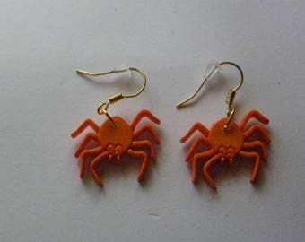 Dangle Orange Spider Earrings   1156  /  Free Shipping in US