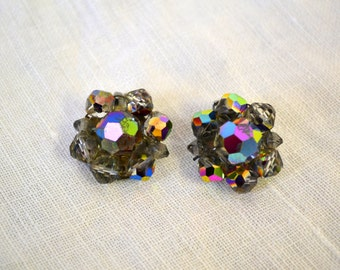 1950s AB Crystal Cluster Clip Earrings