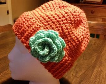 Crochet Pumpkin Orange Winter Hat with Turquoise crochet flower cap beanie
