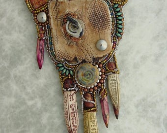 Owl Wedged in Clay Necklace