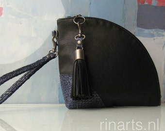 Leather Q-bag clutch / leather zipper pouch /  leather wristlet in black full grain cow leather and blue salmon skin. Color block clutch