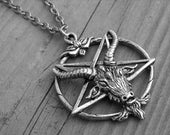 Silver Sigil of Baphomet Necklace Inverted Pentagram Ram Goat Head Gothic Goth Occult Witchcraft Satanic Jewelry Witch Craft Heavy Metal