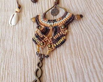 Goddess necklace - macrame necklace - black and brown african queen beaded OOAK jewel with agate beads