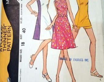 Vintage 1972 McCall's 3201 Pounds Thinner Women's Princess Dress Sewing Pattern Size 18