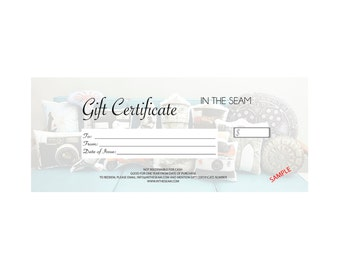 Gift Certificate - Custom Pillow Gift Certificate - Gift Card - Buy Now Choose Later - Custom Gift Card