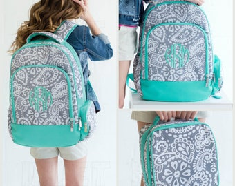 Girl's Backpack, Gray, Mint Paisley Monogrammed , Matching Lunch Box can also be purchased