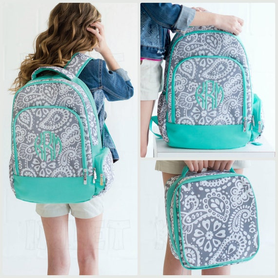 Gray and Mint Paisley Monogrammed Backpack and Lunchbox