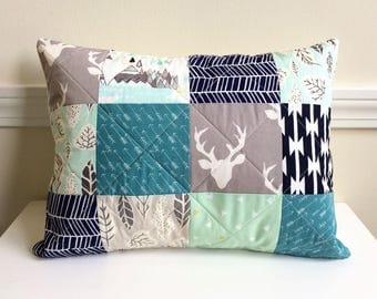 Quilted Pillow Cover, 12 x 16 inch, Buck Forest, Teal, Mint, Navy, Grey, Gray,  Woodland, Deer, Teepee, Quilted Patchwork, Ready To Ship