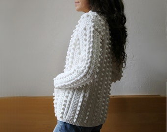 White Cotton Bauble Knit Cardigan Sweater