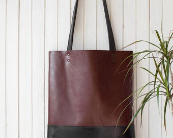 SALE Chestnut Brown Black Leather Tote bag No.Tl- 13002
