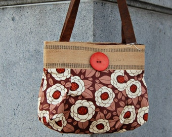 Brown & Orange Floral with Burlap and Button PURSE