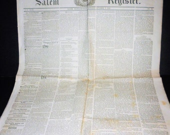 Vintage Newspaper, Salem Ma, 1848 Newspaper, Salem Register, Birthday Gift, Rare, Vintage Ephemera, Vintage Newspaper, World News,  News