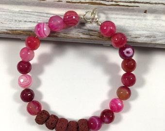 Pink agate diffuser bracelet