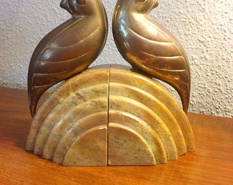 Marble and Brass Art Deco Bookends
