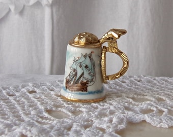 Vintage Nicolas Gish Beer Stein Thimble Clipper Ship Thimble Collector Sewing Room 1981