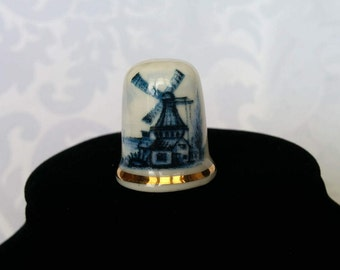 Dutch Windmill Ceramic thimble, Windmill Thimble, Ceramic Thimble, Collectible Thimble