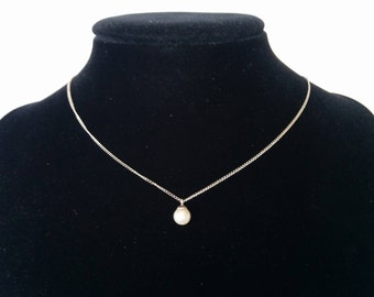 Sterling and Freshwater Pearl Pendant, Sterling Silver Chain with White Freshwater Pearl