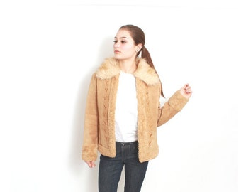 Leather Jacket Shearling Winter Coat with Faux Fur Collar - size small sm J 002