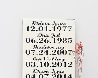 Important Date Wood Sign, Mothers Day Gift, Wedding Date Sign, Personalized Family Sign, Custom Date Sign, Anniversary Sign, Wood Wall Art