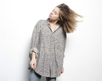 FRESH PRINCE paisley BAROQUE 90s slouchy oversize floral grunge blouse shirt