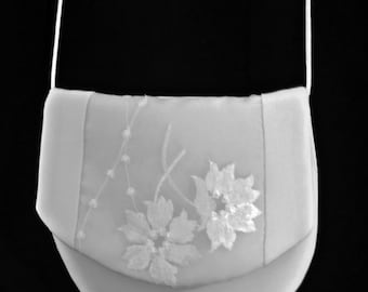 Silk bridal bag with embroidered panel