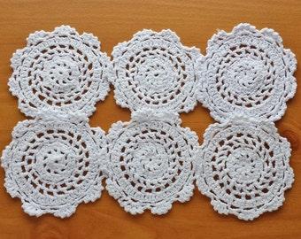 6 White Crochet Doily Medallions, White Doily Mandalas, Round 3 to 3.5 inch White Flower Doilies