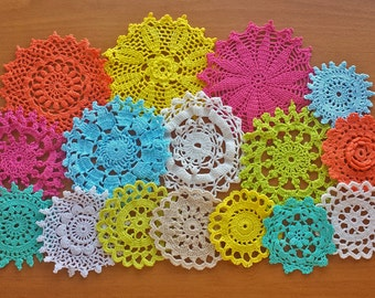 Small Colorful Doilies, Crochet Mandalas, 2, 3, 4 inches, Hand Dyed Vintage Crochet Doilies, 16 Lace Doilies for Dream Catchers and Crafts