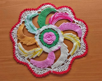Multi Color Flower Doily, 9.5 inch Doily with Flower Center, Kitschy Colorful Retro Doily