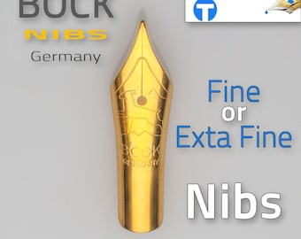 BOCK Nibs - Fine or Extra Fine - for fountain pens high quality German made pen nibs #5 size replacement nibs