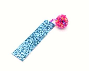 Blue Glitter Pom Pom Bookmark