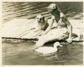 "Vintage Photo ""Magical Summer Friends"" Animal Dog Duck Pet Snapshot Photo Old Black & White Photograph Found Paper Ephemera Vernacular - 164"