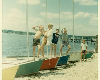"Vintage Color Photo ""The Sailing Goofballs"" Snapshot Antique Photo Old Photograph Found Paper Ephemera Vernacular - 139"