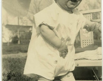 "Vintage Photo ""Belly Full of Giggles"" Snapshot Antique Photo Old Black & White Photograph Found Paper Ephemera Vernacular - 17"