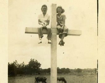 "Vintage Photo ""The Faithful Farmer's Daughters"" Snapshot Antique Photo Old Black & White Photograph Found Paper Ephemera Vernacular - 134"